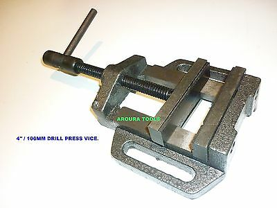 "DRILL PRESS VICE 4"" / 100mm WIDE JAWS - SOLID STEEL CONSTRUCTION - NEW"