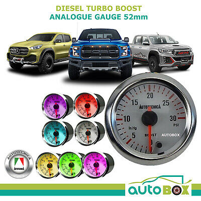 DIESEL TURBO BOOST 52mm Analogue Gauge by Autotecnica 7 Colours guage deisel