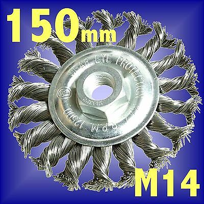 Silverline 150mm Rotary Twist Knot Wire Wheel cup brush M14 fits angle grinder
