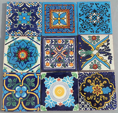 """9~MEXICAN TALAVERA POTTERY 4"""" tile blue turquoise hand made painted + Italy CD"""