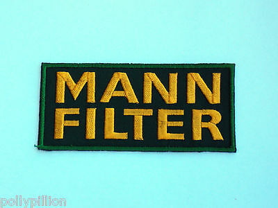 Motor Racing Rally Nascar Sew/iron On Patch:- Mann Filter Green & Yellow Logo