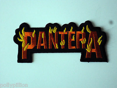 Rock Punk Metal Music Sew/iron On Patch:- Pantera Heavy Metal In Flames