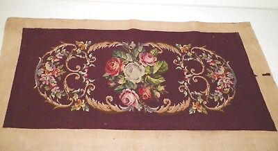 Vintage Yard Long Burgundy Roses Needlepoint Wall Hanging French Country