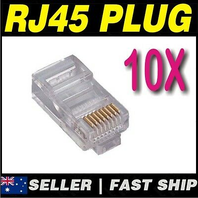 10x RJ45 RJ-45 Clear CAT5 CAT5E CAT6  Modular Plug for Network Cable