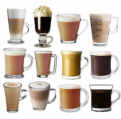 Set Of 4 Clear Glass Tall Tea Coffee Latte Hot Chocolate Drink Cups Mugs Glasses