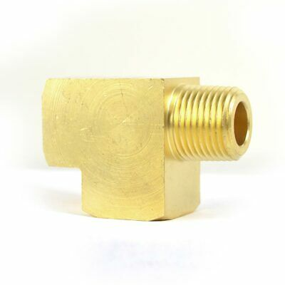 Solid Brass Street Pipe Tee 1/4' NPT Male X 1/4' NPT Two Female air fuel FST44RT