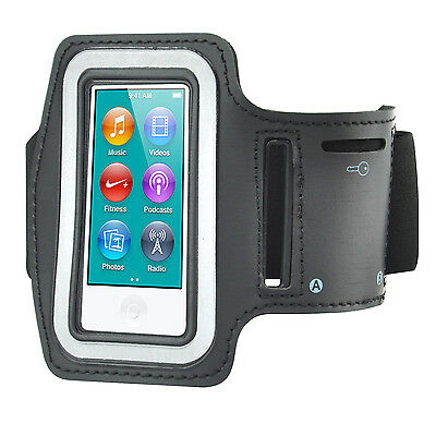 TRIXES Sports Running Arm band Pouch for iPod Nano 7 & Key Black