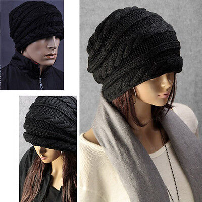 TRIXES Black Winter Baggy Beanie Knit Detail Hat in oversized Slouch Style