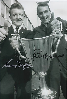 Terry DYSON Jimmy GREAVES Double SIGNED Autograph 12x8 Photo AFTAL COA Spurs