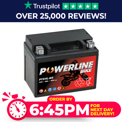 Powerline MOTORCYCLE MAINTENANCE FREE 12V 12 VOLT BATTERY DTX4L-BS YTX4L-BS