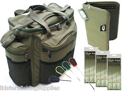 Large Green Carp Fishing Tackle Bag Holdall +  Rig Wallet 18 Hair Rigs 4pc tools