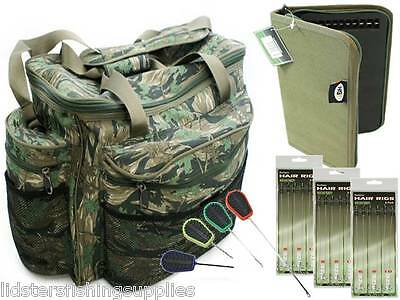Large Camo Carp Fishing Tackle Bag Holdall +  Rig Wallet 18 Hair Rigs 4pc tools