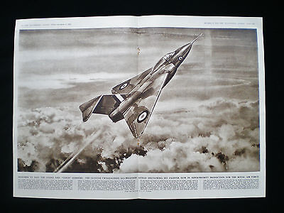 GLOSTER JAVELIN GA.5 DELTA-WING JET FIGHTER RAF AIRCRAFT 2pp PRINT ARTICLE 1952