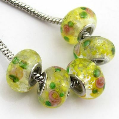 20x Yellow Green Loose Beads Glass Lampwork Big Hole Fit Chains Bracelet 150032