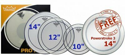 """Remo Pinstripe Clear Fusion Tom Pack & 14"""" Powerstroke Drum Head PP-0310-PS"""