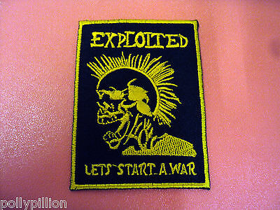 Rock Punk Metal Music Sew/iron On Patch:- Exploited Punk Skull Lets Start A War