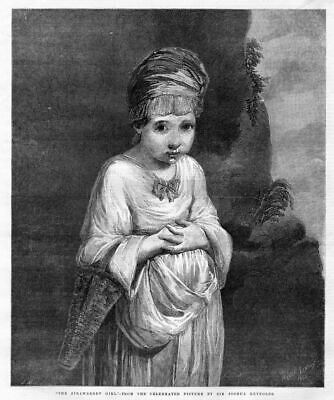 The Strawberry Girl From Picture By Sir Joshua Reynolds Antique 1856 Engraving