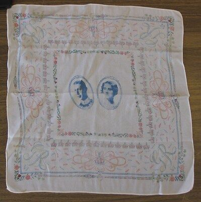 VINTAGE 1937 KING GEORGE & THE QUEEN CORONATION SILK HANKY