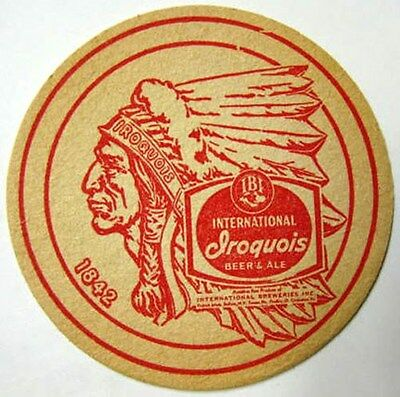 IROQUOIS INTERNATIONAL ALE BEER Coaster MAT with INDIAN, Buffalo, NEW YORK 1960s