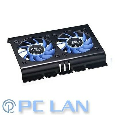 Deepcool ICEDISK 2 Low Profile HDD Hard Disk Cooler Aluminium Dual Fan FS-HD02
