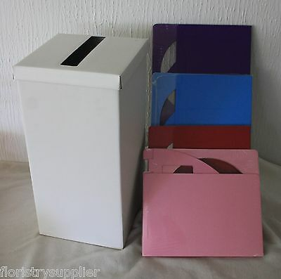 Silk wedding card Receiving Post Box Wishing Well ivory white gold silver & more