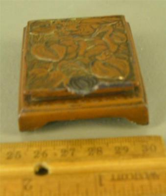 Antique Art Nouveau Ornate Bronze Clad Figural Birds Stamp Trinket Desk  Box
