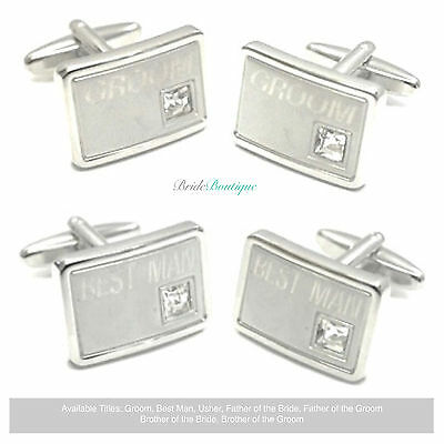 Mens Silver Diamante Engraved Role Title Wedding Day Gift Favor Cufflinks