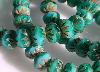 CZECH TURQUOISE GREEN 9x6mm FACETED NOTCHED RONDELLE GLASS BEADS (25)