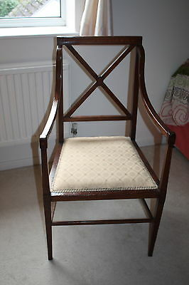 Antique Late Victorian Hardwood (Rosewood?) Dining Bedroom Hall Chair