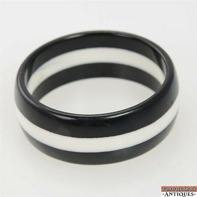 Vintage Chunky Thick Black and White Striped Celluloid Bangle Bracelet 3 Inch