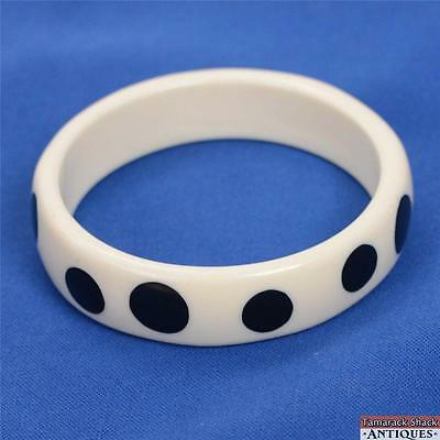 Vintage Chunky Thick White w/ Black Polka Dots Celluloid Bangle Bracelet 3 Inch