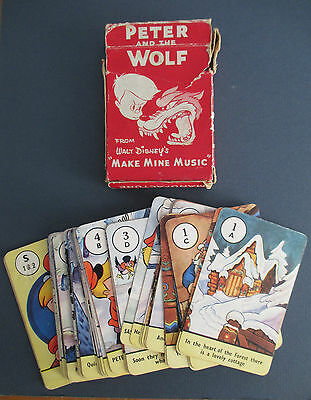 Walt Disney's PETER & THE WOLF Make Mine Music Vintage Card Game in Box, 1947
