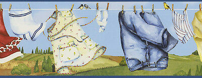 CKB05121B Country Clothesline Blue Laundry Border