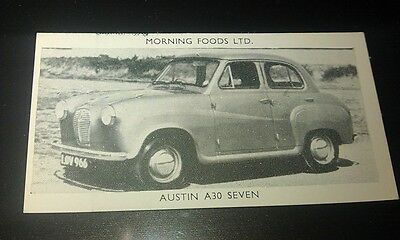 1953 AUSTIN A30  Saloon Orig Cereal Trading Card