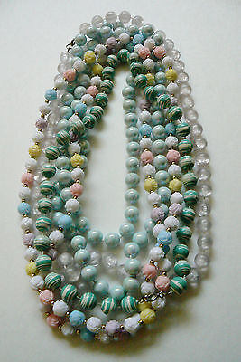 Lot of 4 VTG Fashion Beaded Strands Necklaces Licite Plastic Pink White Blue