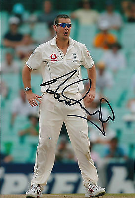 Ashley GILES Signed Autograph 12x8 Photo AFTAL COA England CRICKET Genuine SPIN