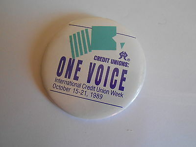 Neat Vintage 1989 Credit Union One Voice International Credit Union Weed Pinback