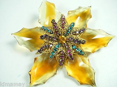 Huge Vintage Signed  Miriam Haskell Large Beveled Glass Petals Pin