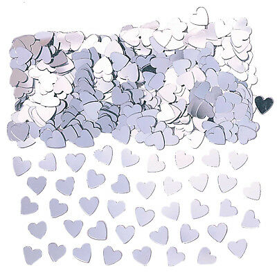3 x Silver Heart Table Confetti Wedding Engagement Christening Party Decorations