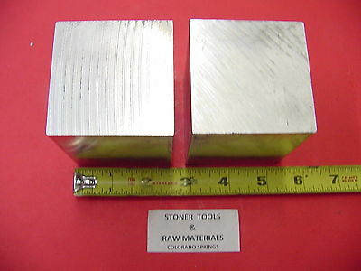 """2 Pieces 2-1/2"""" X 2-1/2"""" ALUMINUM SQUARE SOLID FLAT BAR 2.50"""" long Mill Stock"""