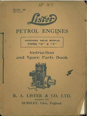Lister Petrol Engines Ohv Types D & F Operators & Parts Manual