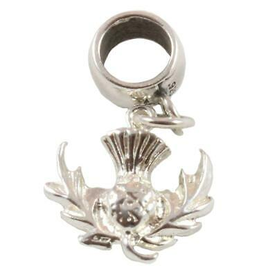 Scottish Thistle - Sterling Silver Dangle Charm Carrier Bead - Scotland