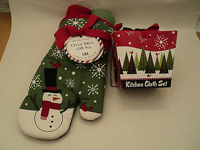 "DII ""SNOWMAN OVEN MITT AND TOWEL SET"" ~ SET OF 6 ~ 100% Cotton ~ NEW!"