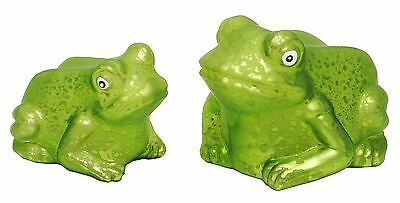 """Blown Glass Frosted Green Frog Figures Home Decor 3"""" & 4"""" NEW Lot DC123-4"""