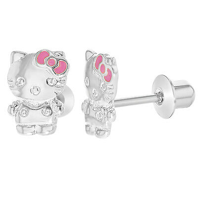 Hello Kitty Earrings 18k White Gold Filled Pink Bow Screwbacks Toddlers Girls