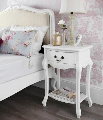 JULIETTE Shabby Chic White 1 Drawer Bedside Table, Stunning Cabinet, ASSEMBLED