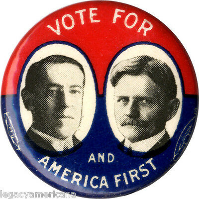 Classic 1916 Wilson Marshall AMERICA FIRST Jugate Campaign Button (1851)