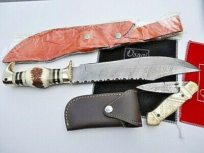 "2 x 8"" DAMASCUS STEEL Bush Hunting/Camping Knives + 8.5"" Steel_Folding Knife"