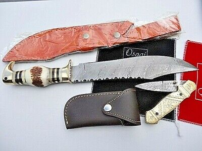 "8"" BRASS & 16"" ANTLER DAMASCUS Steel Bush Hunting/Camping /Fishing Knife Knives"