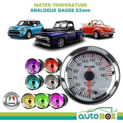 WATER TEMPERATURE 52mm Analogue Gauge by Autotecnica 7 Colours 12v guage
